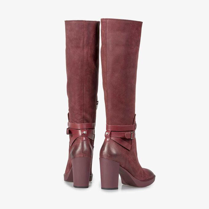 Burgundy red nubuck leather high boots with a print