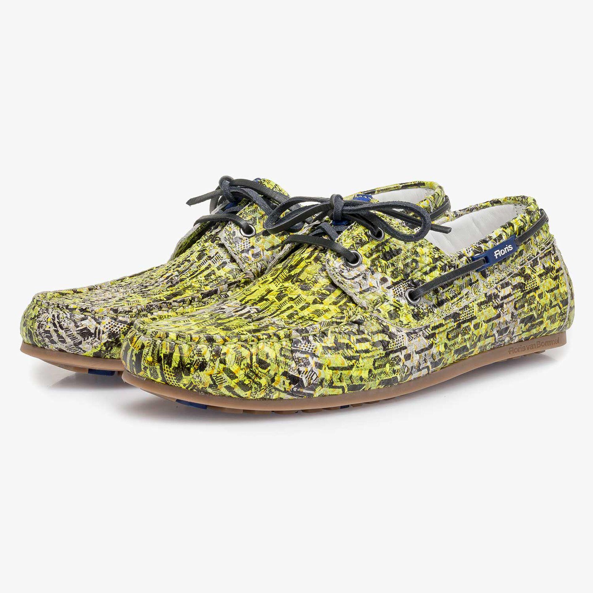 Yellow snake print calf leather sailing shoe