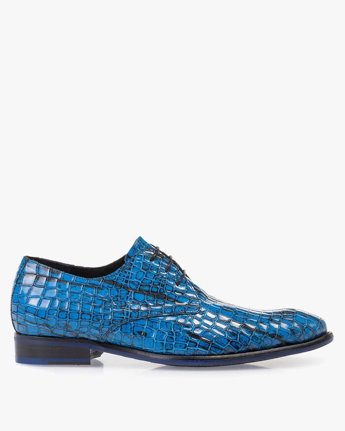 Lace shoe patent leather blue