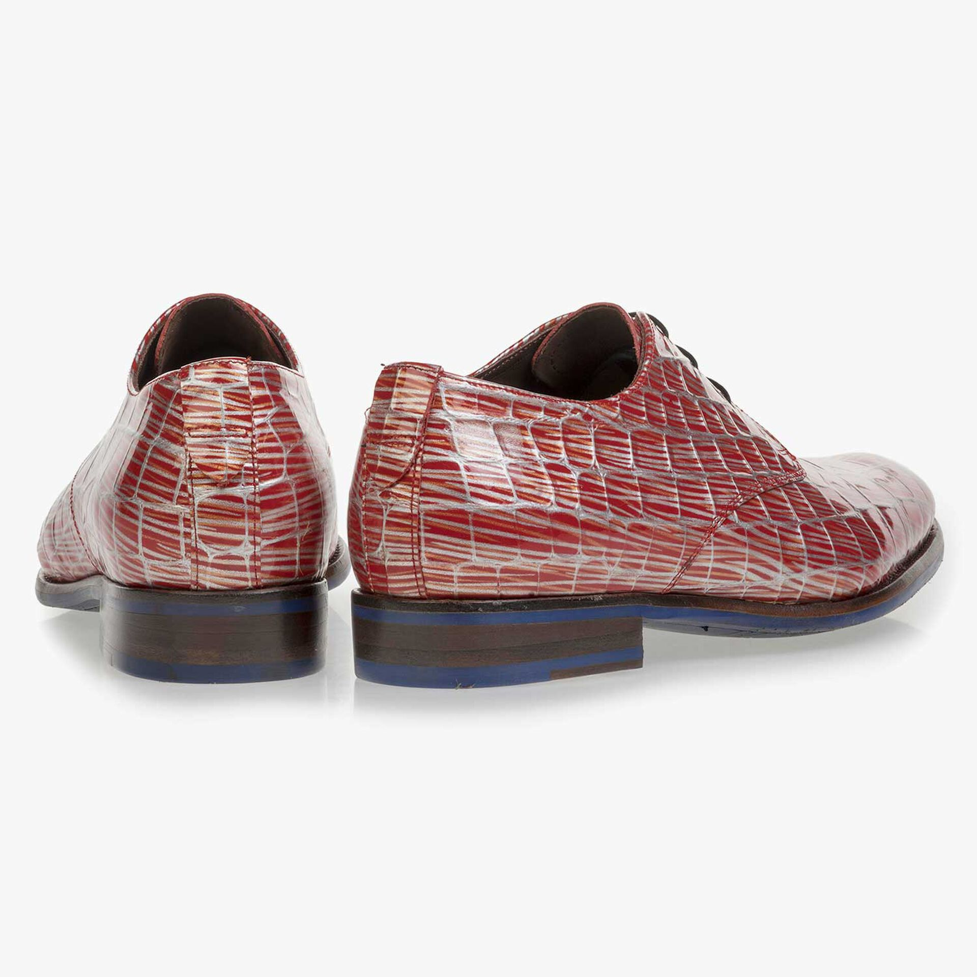 Red patent leather lace shoe with print
