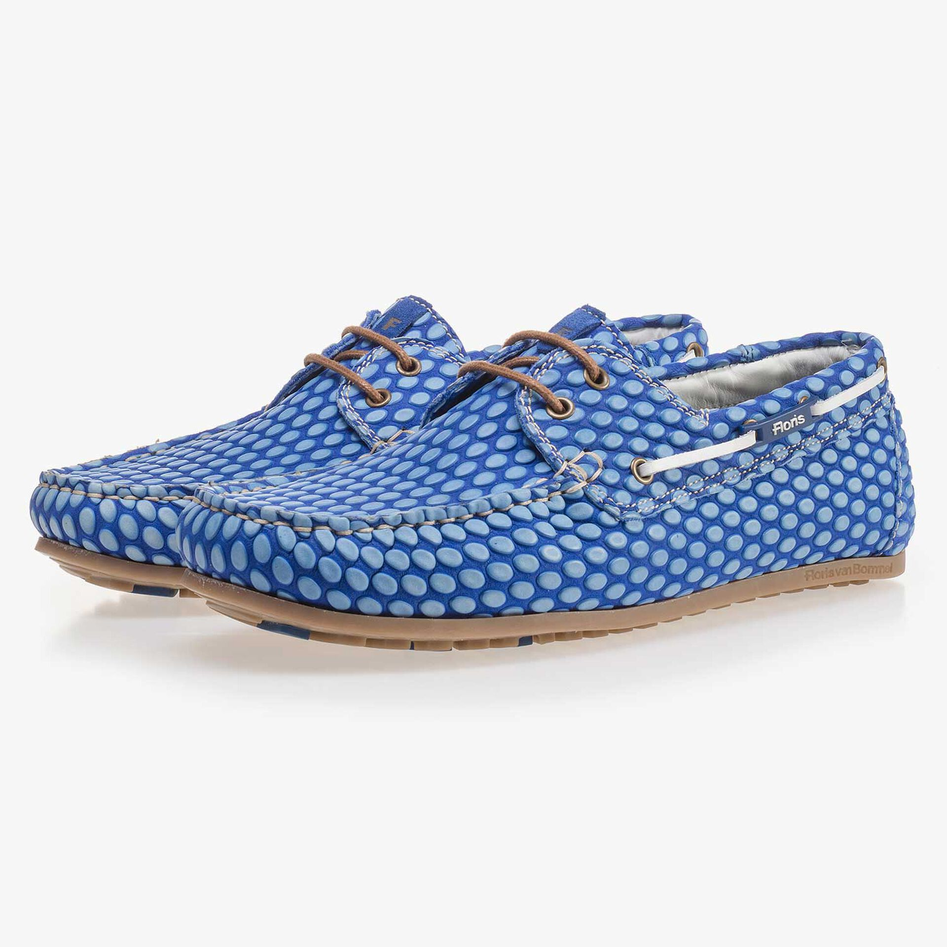 Cobalt blue, printed leather boat shoe