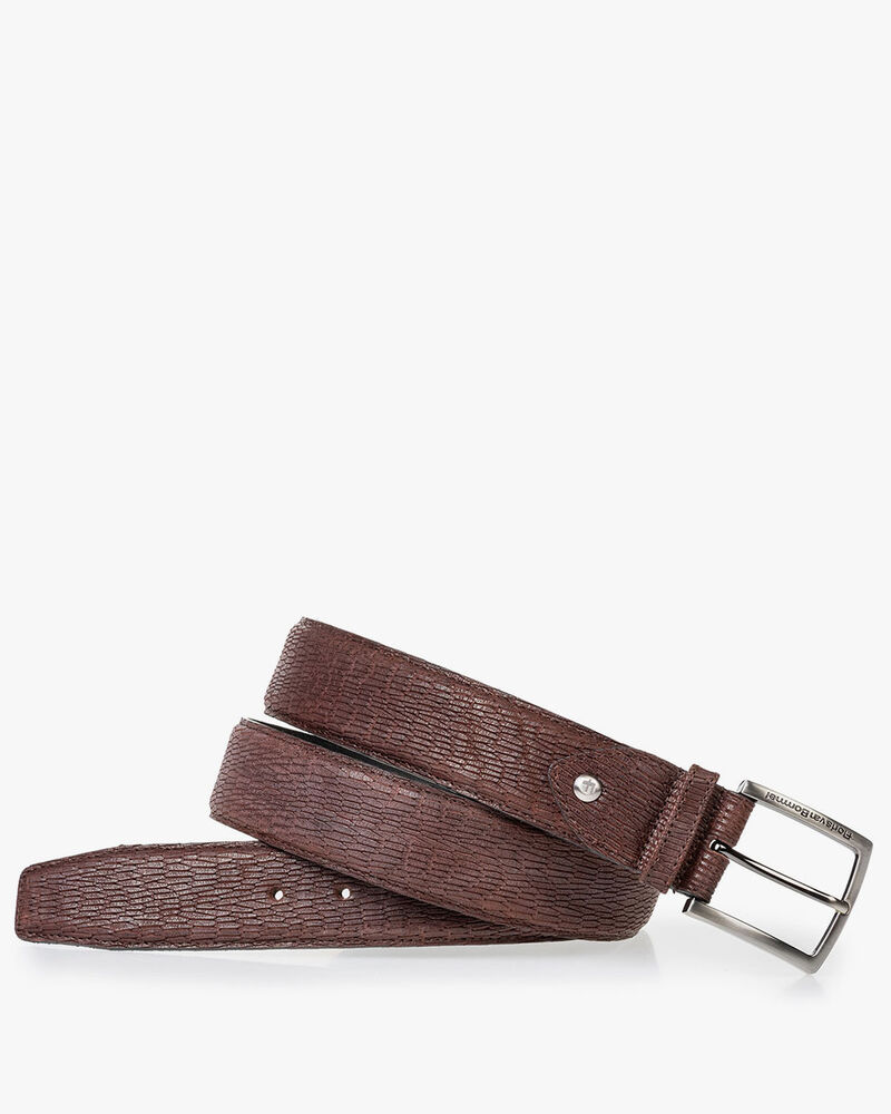Brown belt with print nubuck