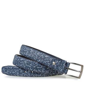 Belt printed nubuck leather blue
