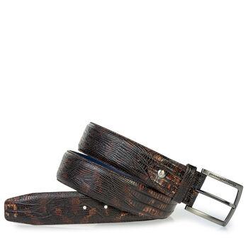 Leather belt lizard print cognac