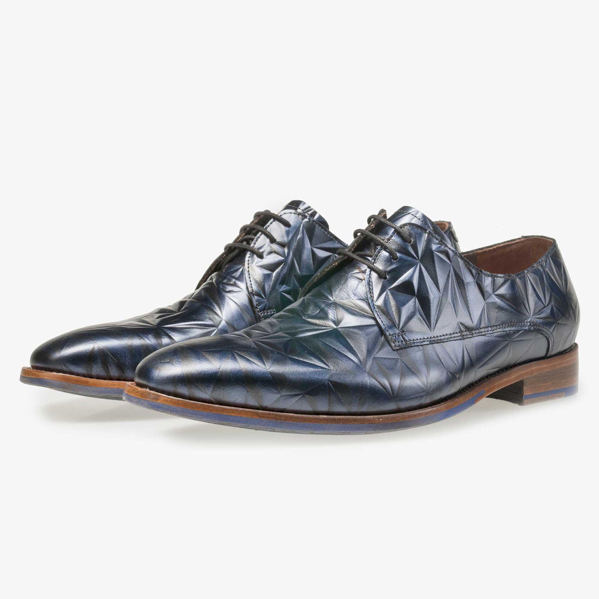 Floris van Bommel men's blue leather lace shoe finished with a black 3D print