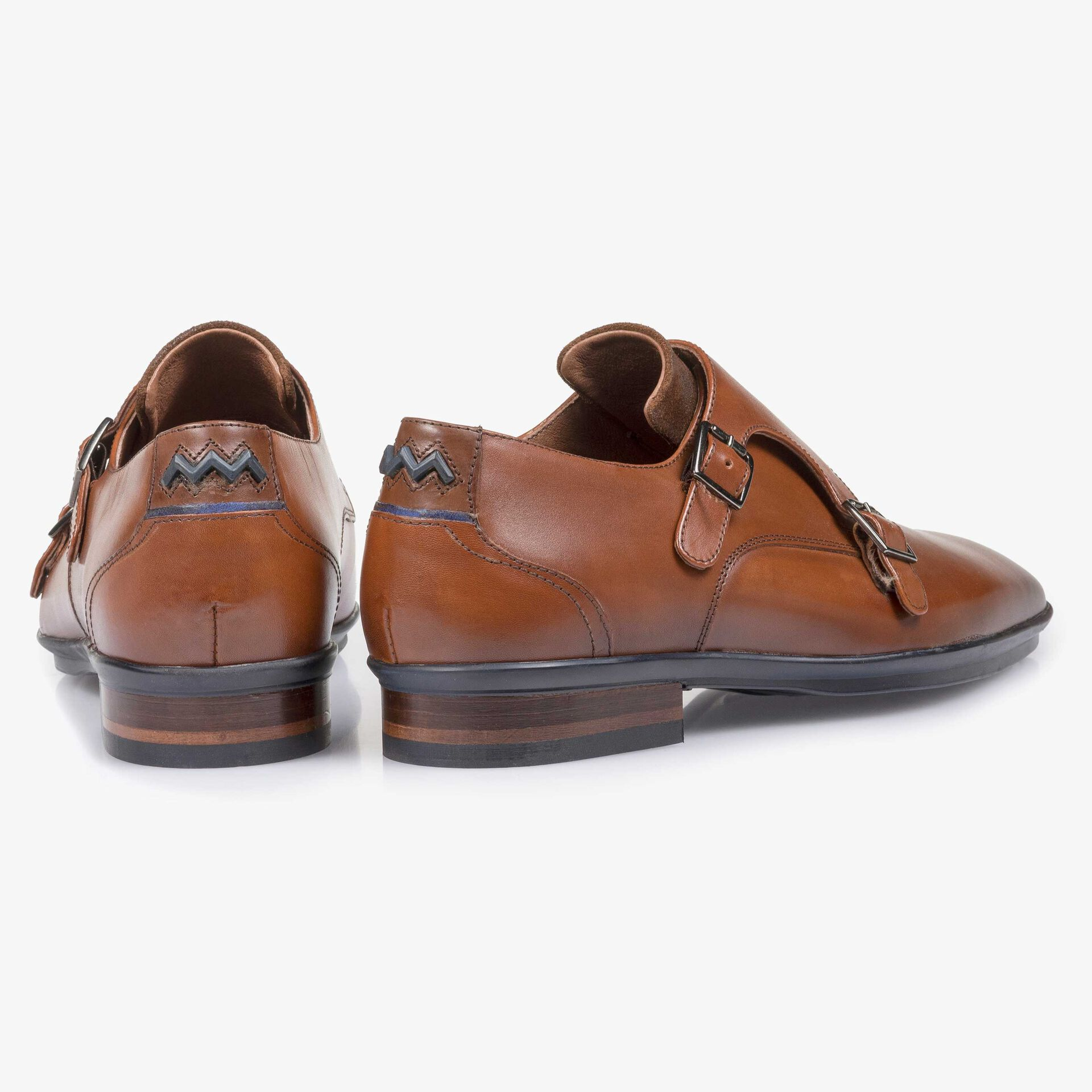 Cognac-coloured calf leather double buckle monk strap