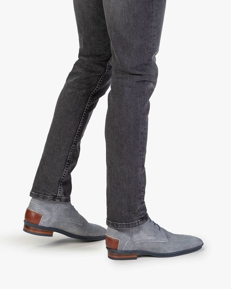Boot suede leather black/white