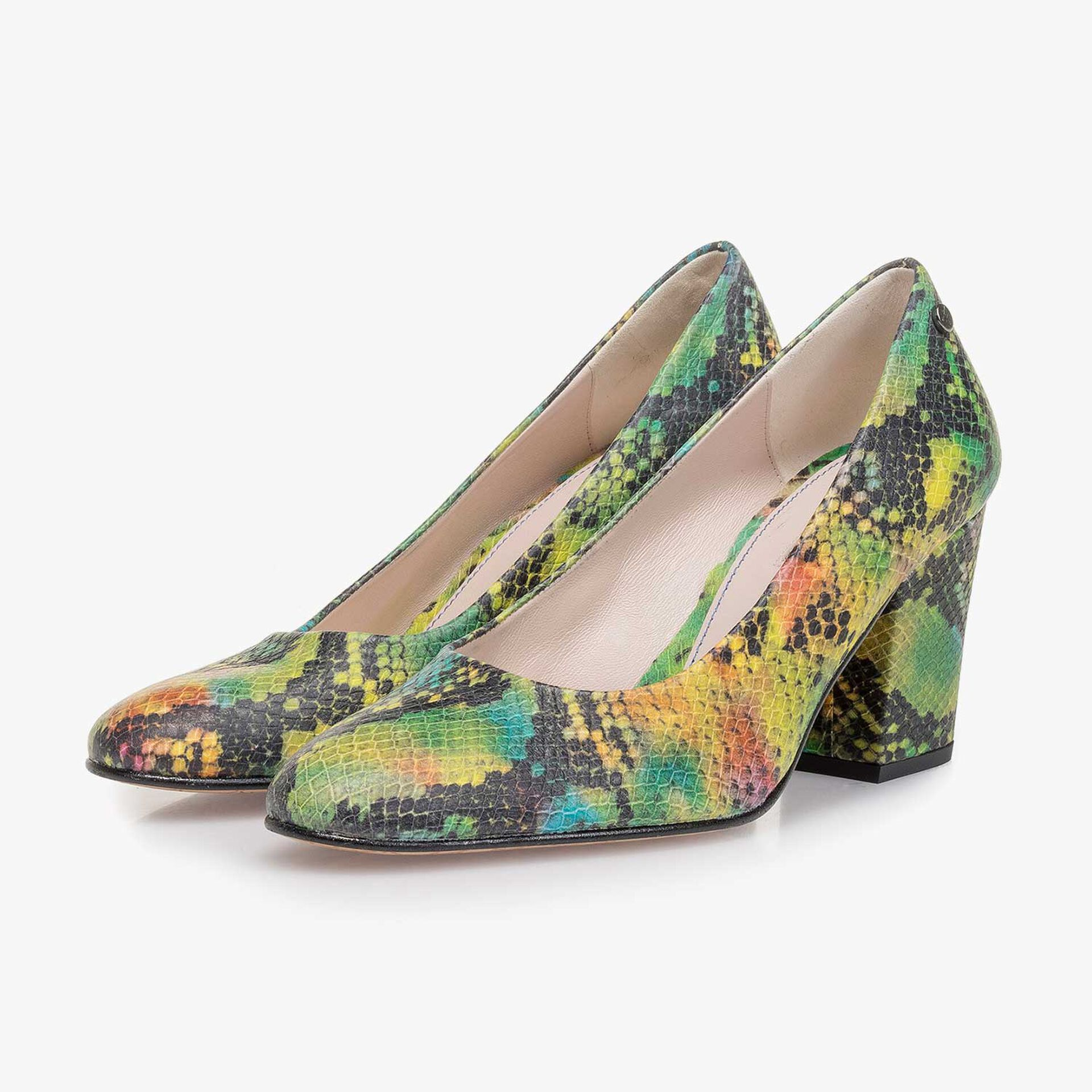 Green snake print leather pumps