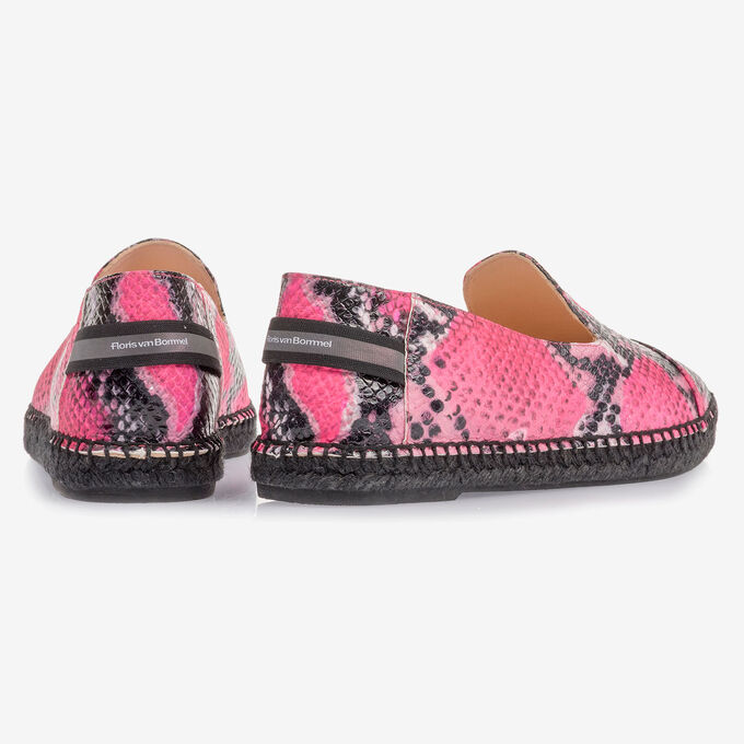 Fluorescent pink espadrilles with snake print