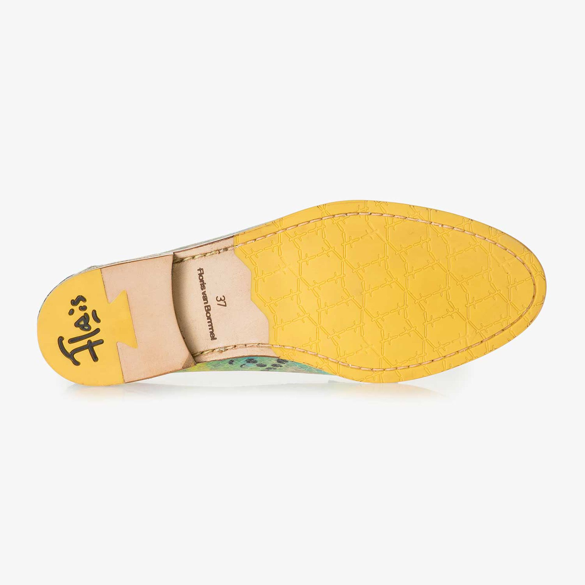 Green snake print leather loafer