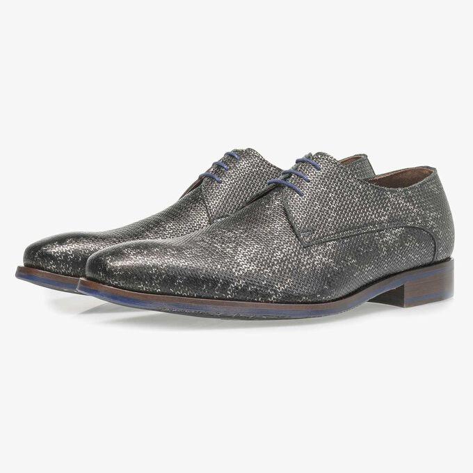 Dark grey leather lace shoe with metallic print