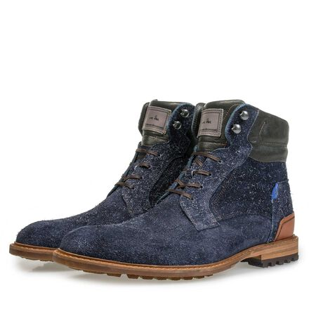 Leather lace boot with print