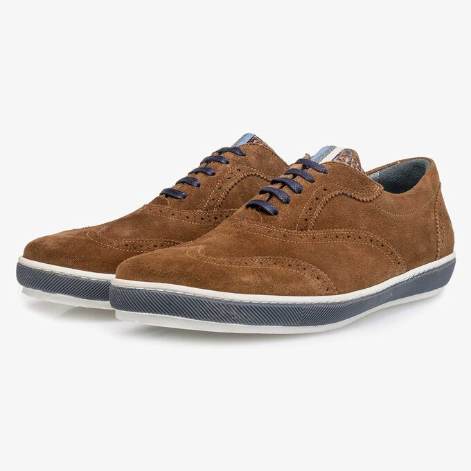 Brown suede leather brogue shoe