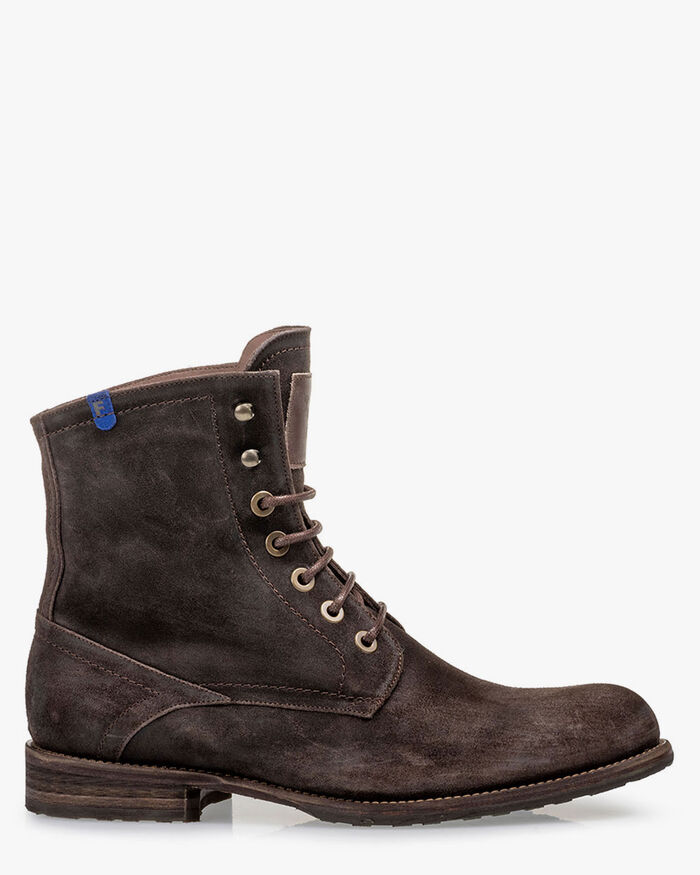 Lined lace boot suede brown