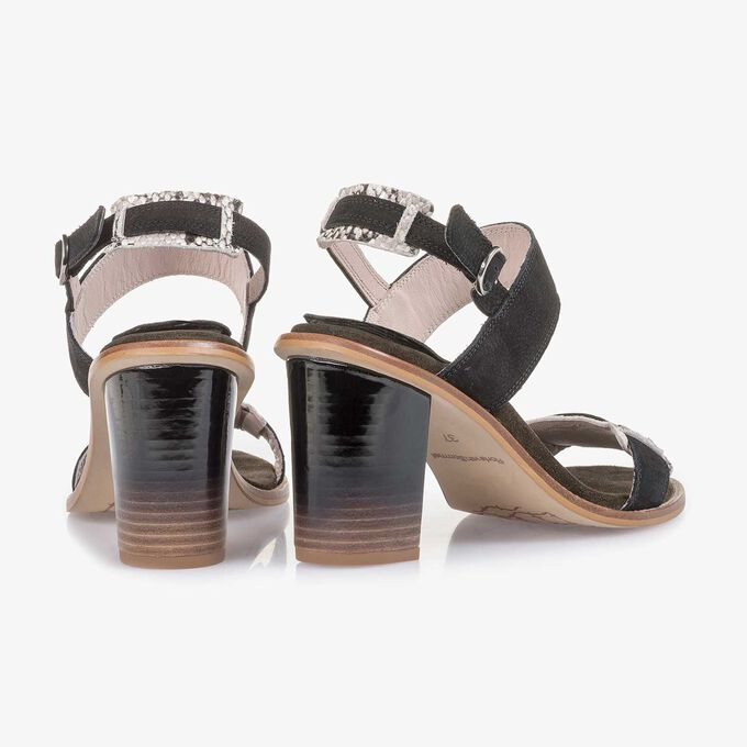 Black high-heeled nubuck leather sandal