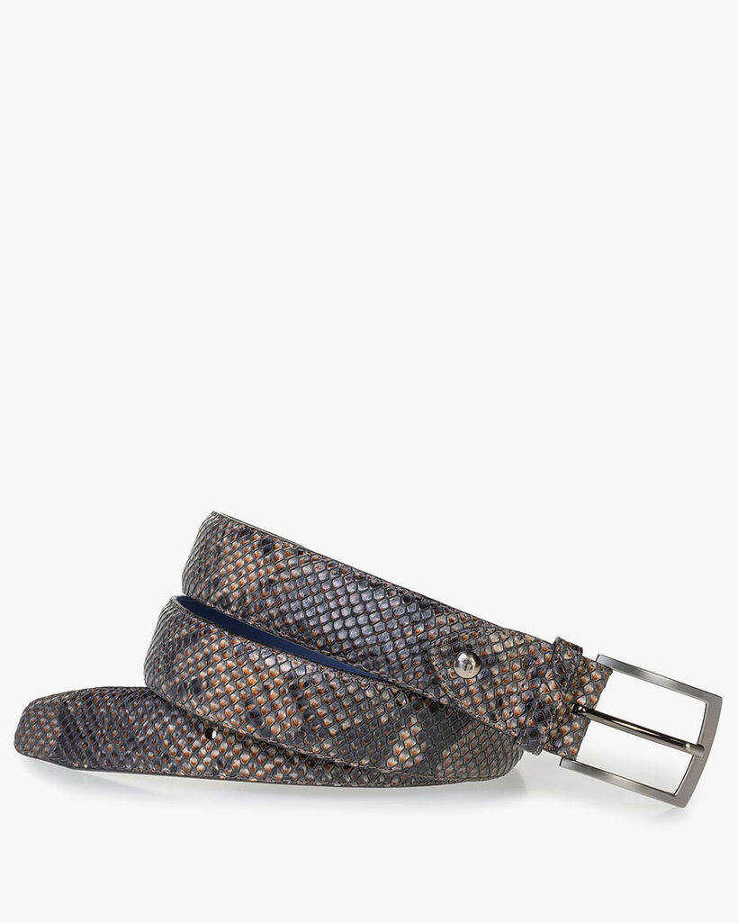 Brown leather belt with snake print