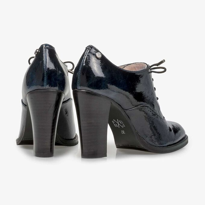 Blue patent leather heeled derby