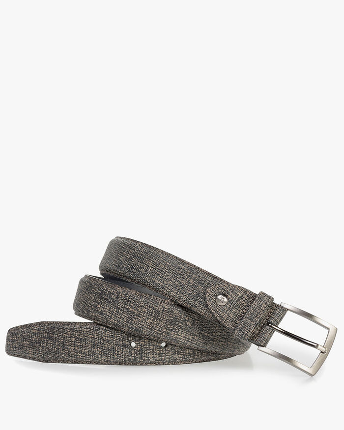 Taupe-coloured leather belt with black print