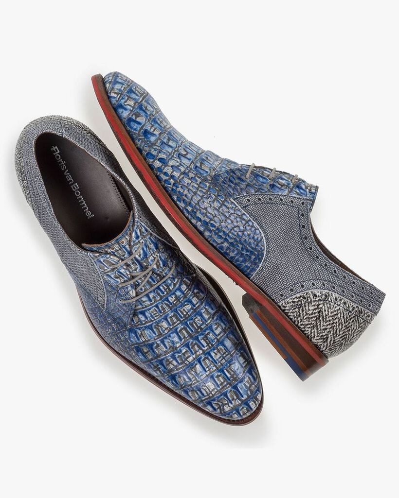 Lace shoe printed leather blue