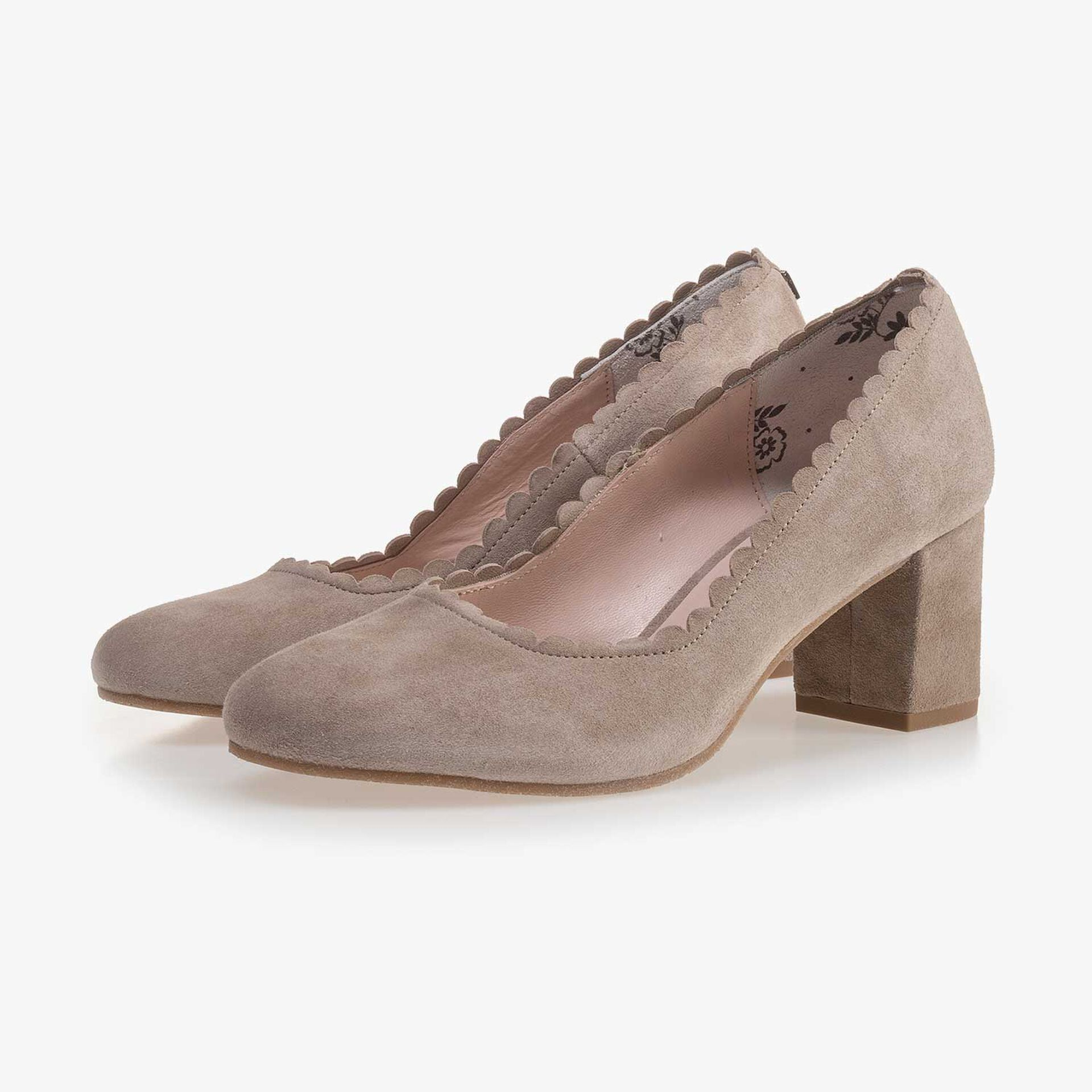 Taupe-coloured suede leather pumps