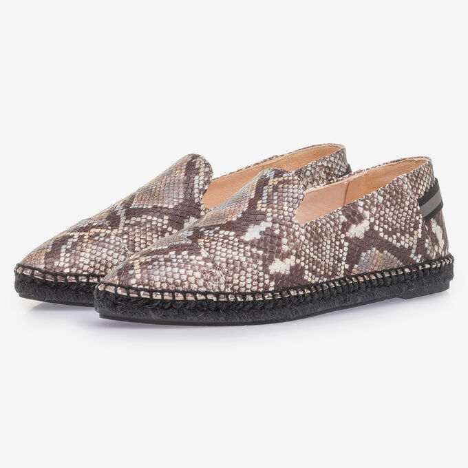 Brown and white leather espadrilles with snake print