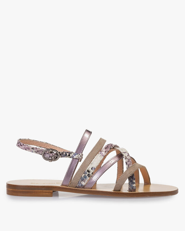 Sandal printed leather pink