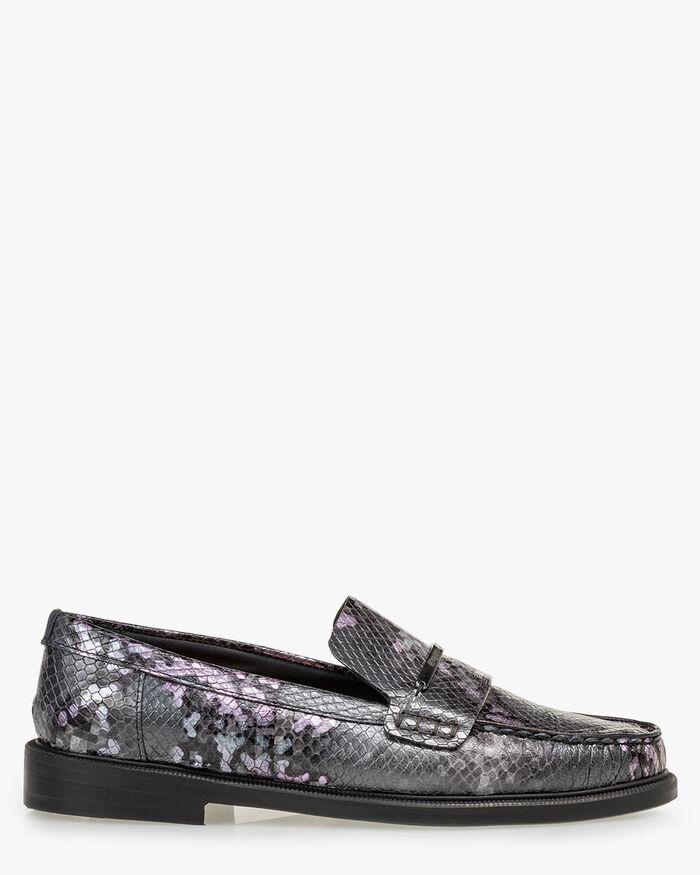 Loafer reptile print dark grey