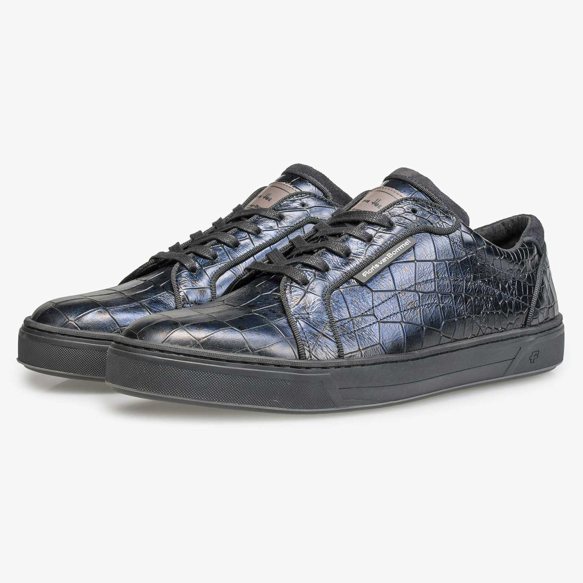 Blue leather sneaker with croco print