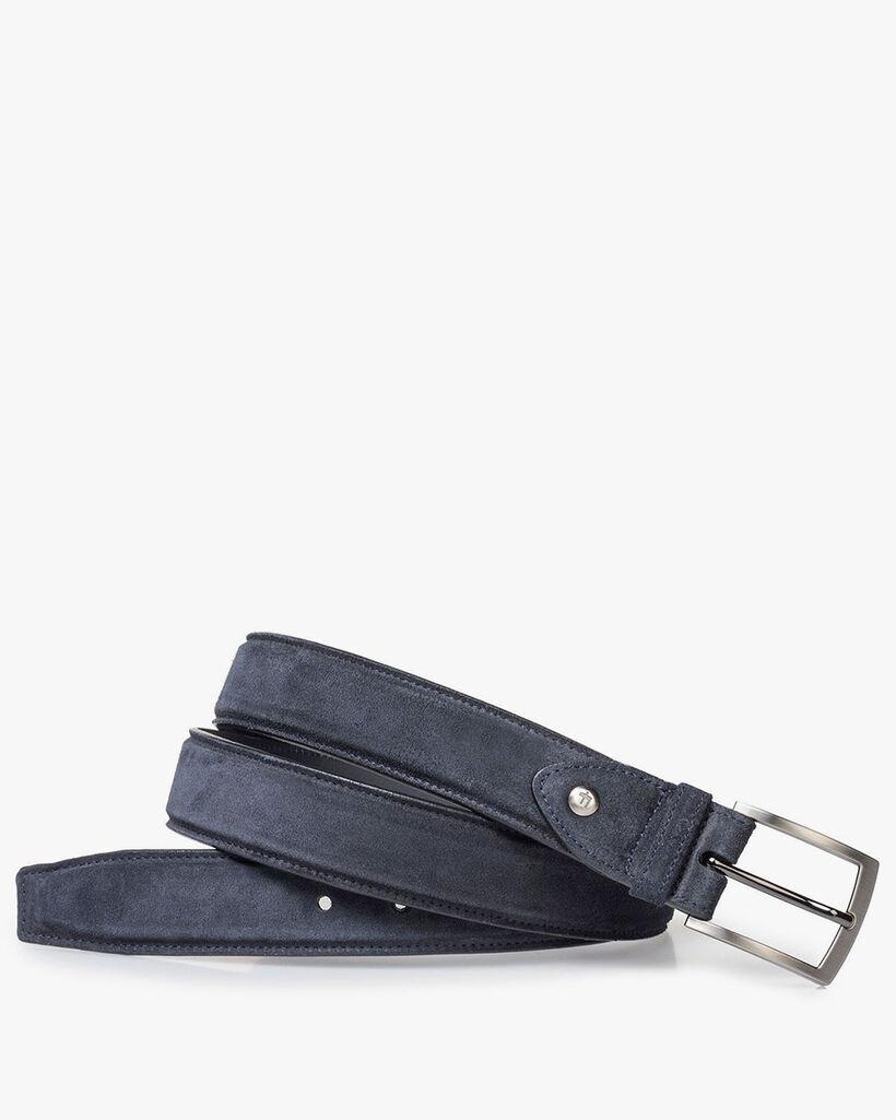Blue suede leather belt