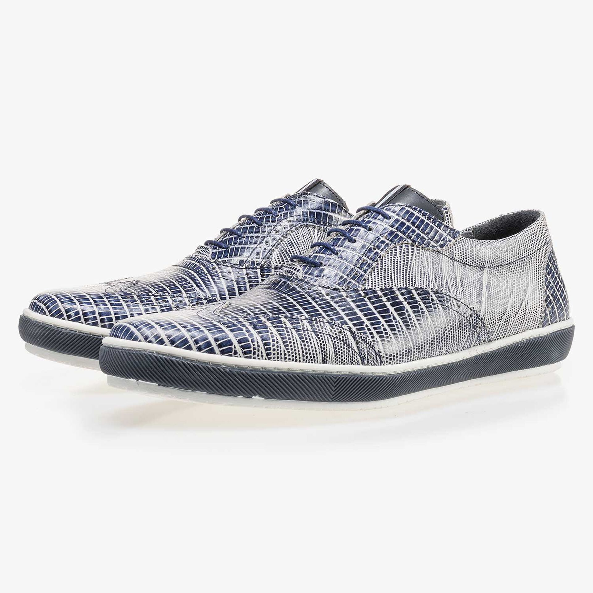 Blue leather sneaker with a lizard print