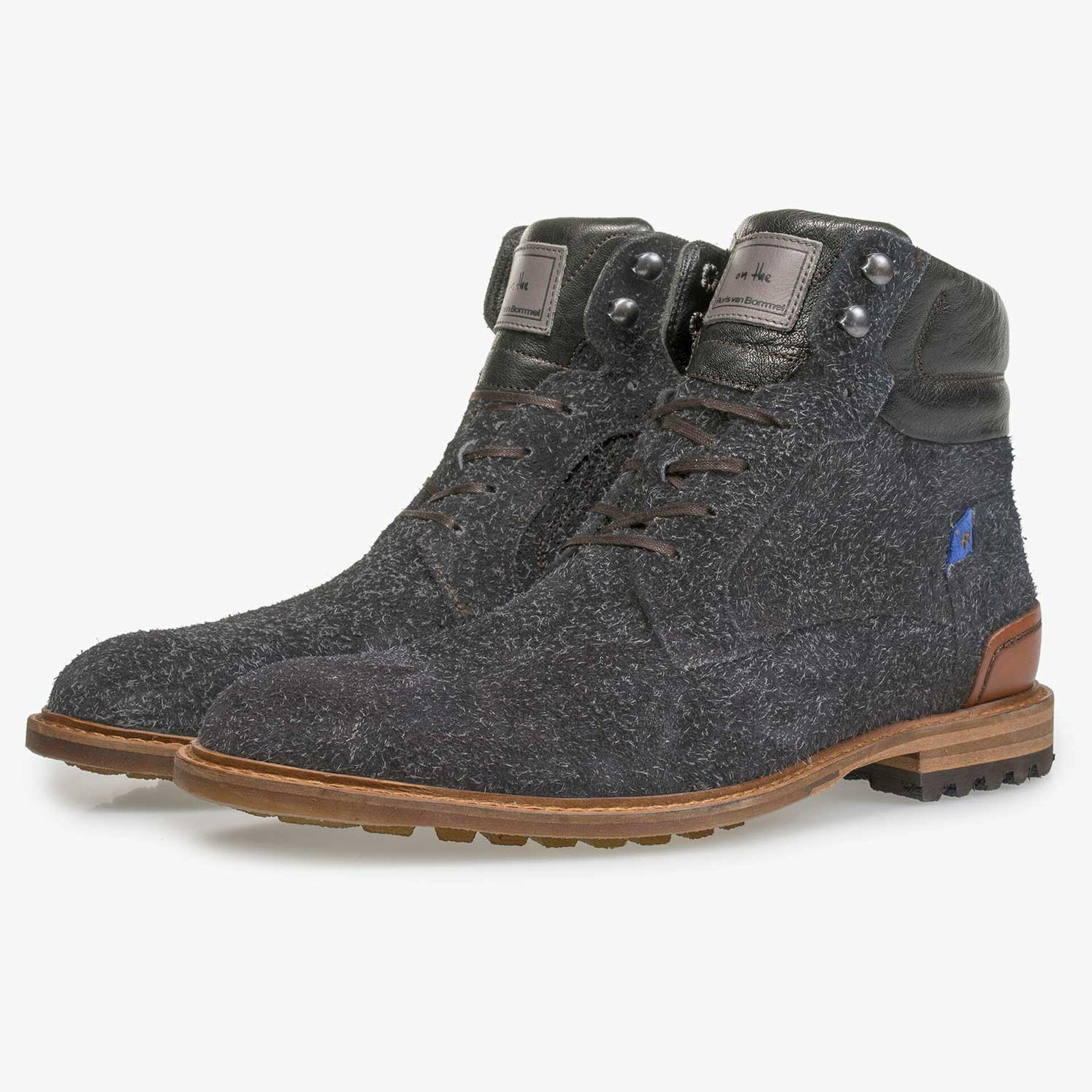 Dark grey rough-leather lace boot