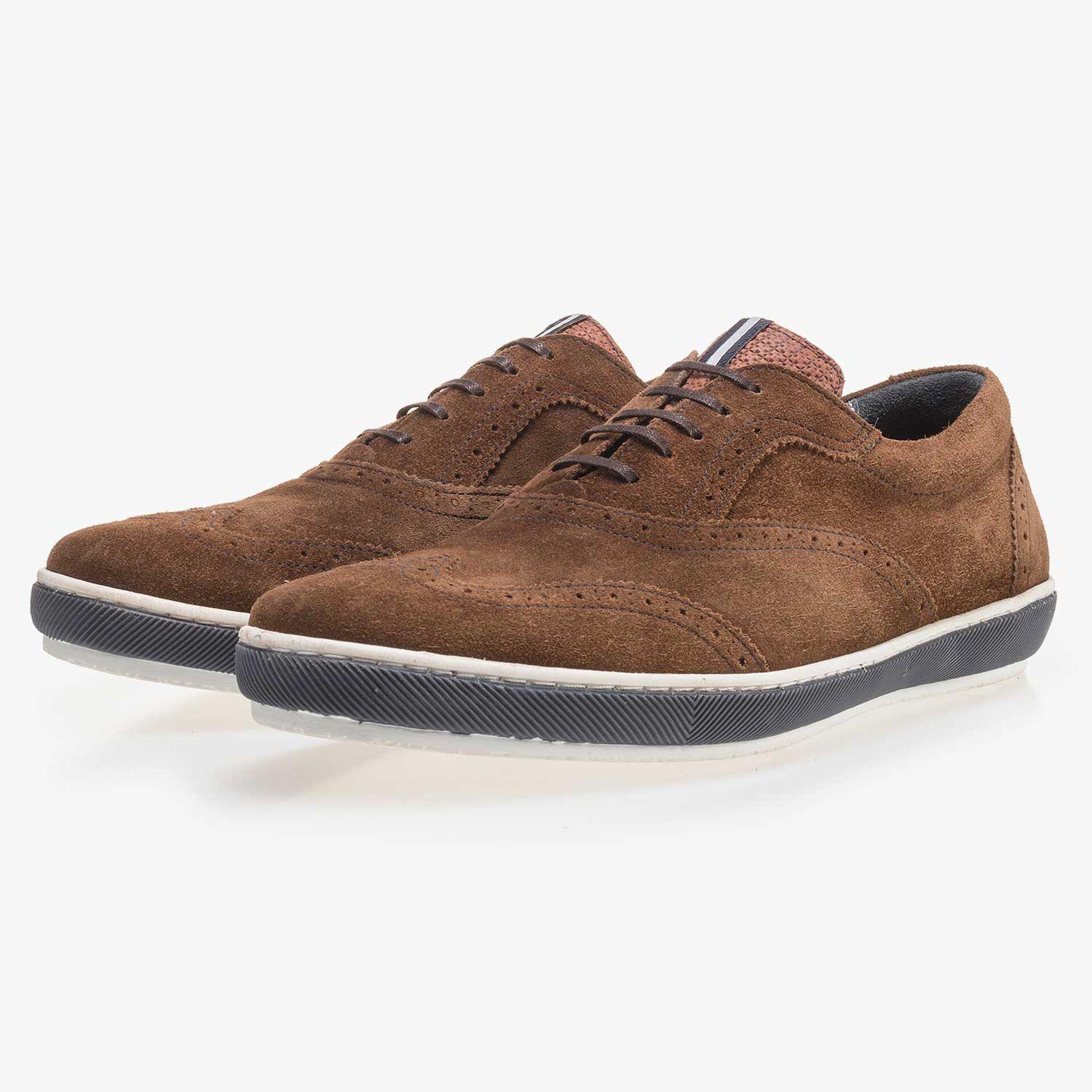 Brown brogue suede leather sneaker