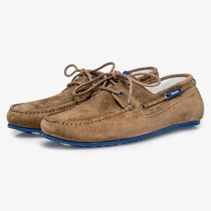 Brown slightly buffed suede leather sailing shoe