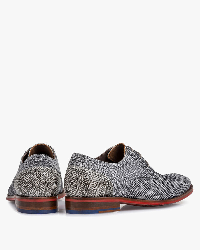 Lace shoe suede leather off-white