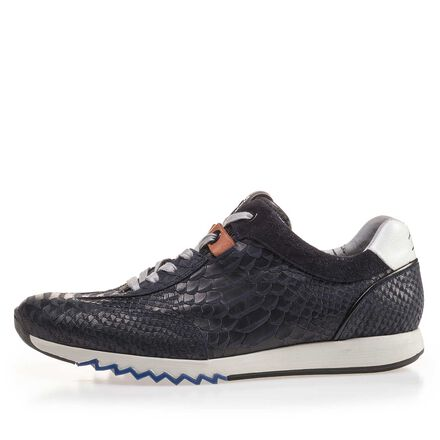 Leather sneaker with snake print
