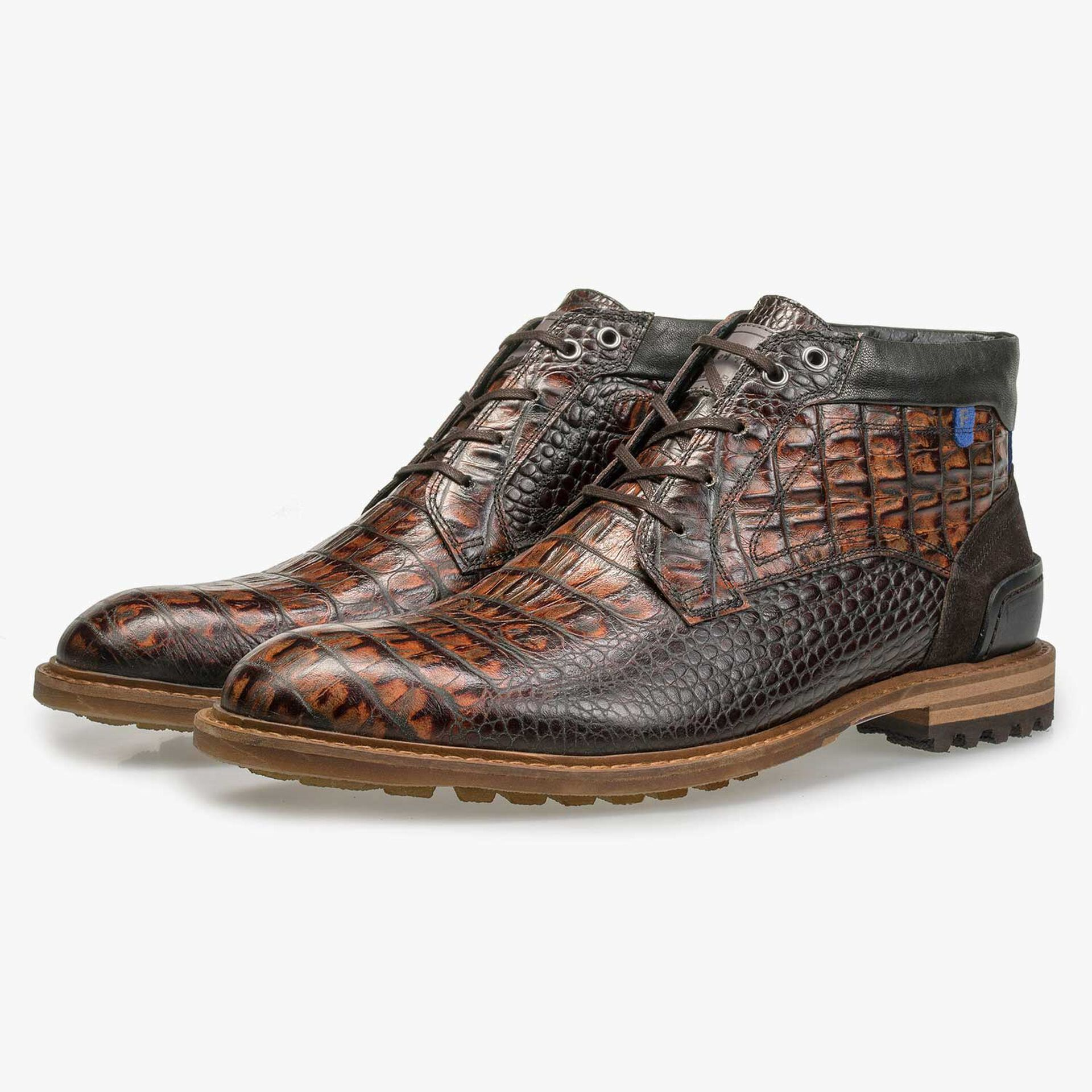 Mid-high brown leather lace boot with croco print