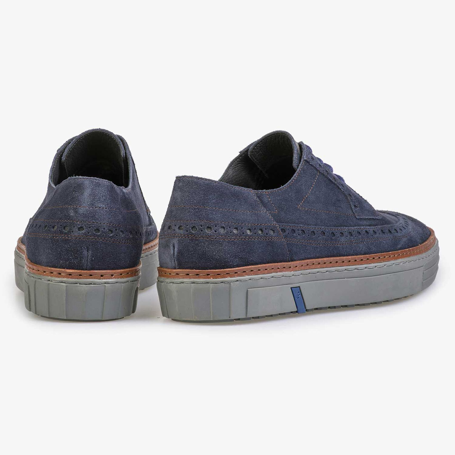 Blue suede sneaker with brogue details