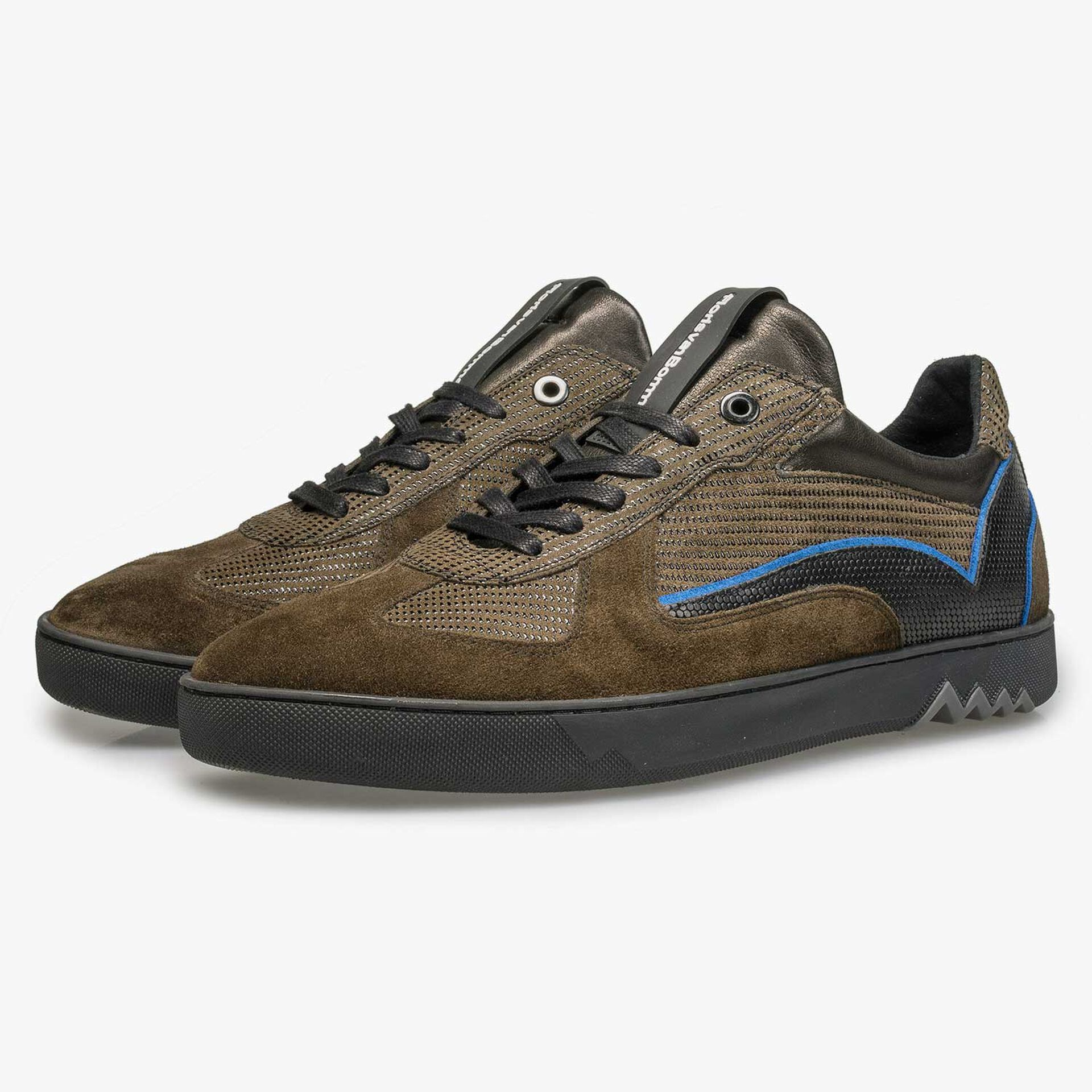 Olive green sneaker with black pattern