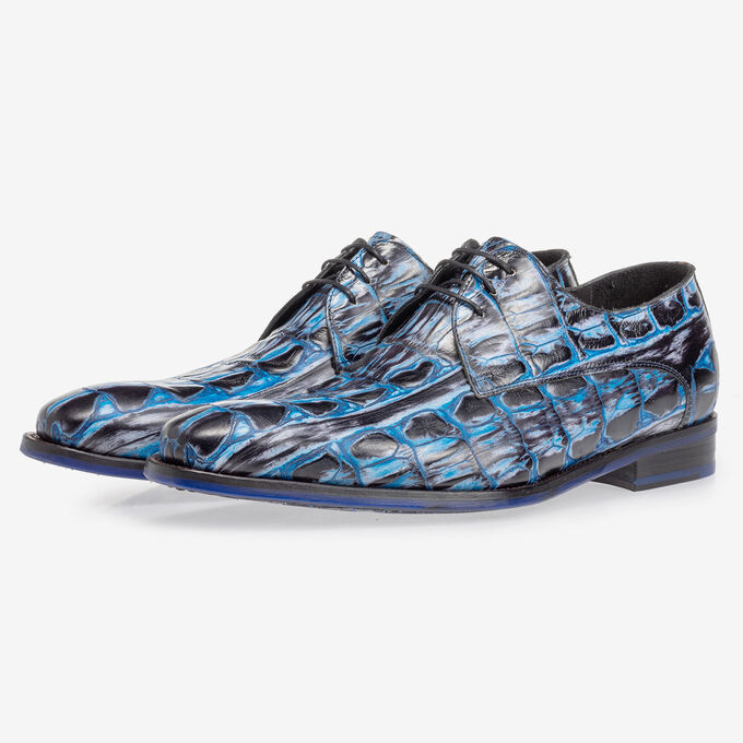 Lace shoe blue croco print