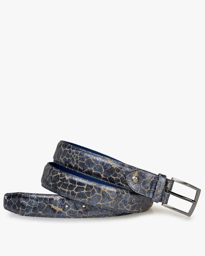 Belt blue metallic print