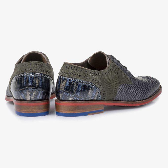 Grey snake print leather lace shoe