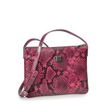 Leather cross body bag with snake print