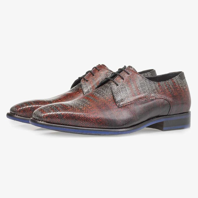 Premium dark red printed patent leather lace shoe