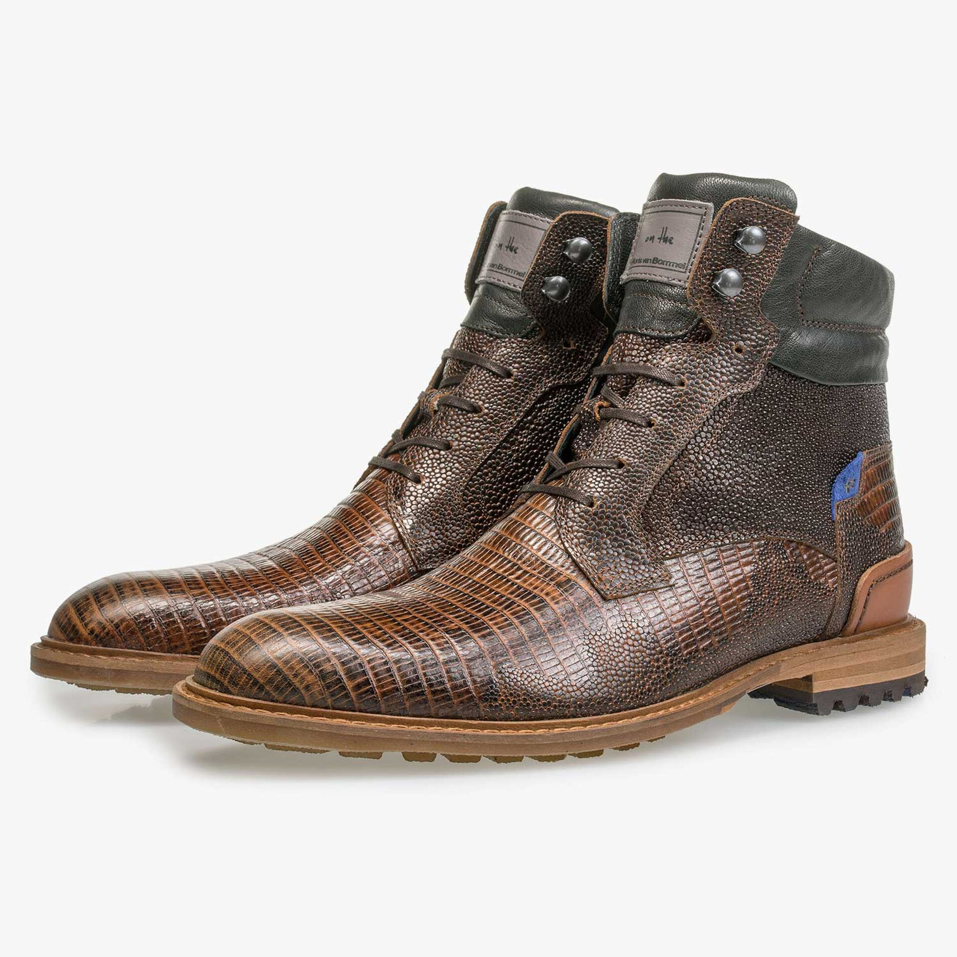 Cognac-coloured leather lace boot with lizard print