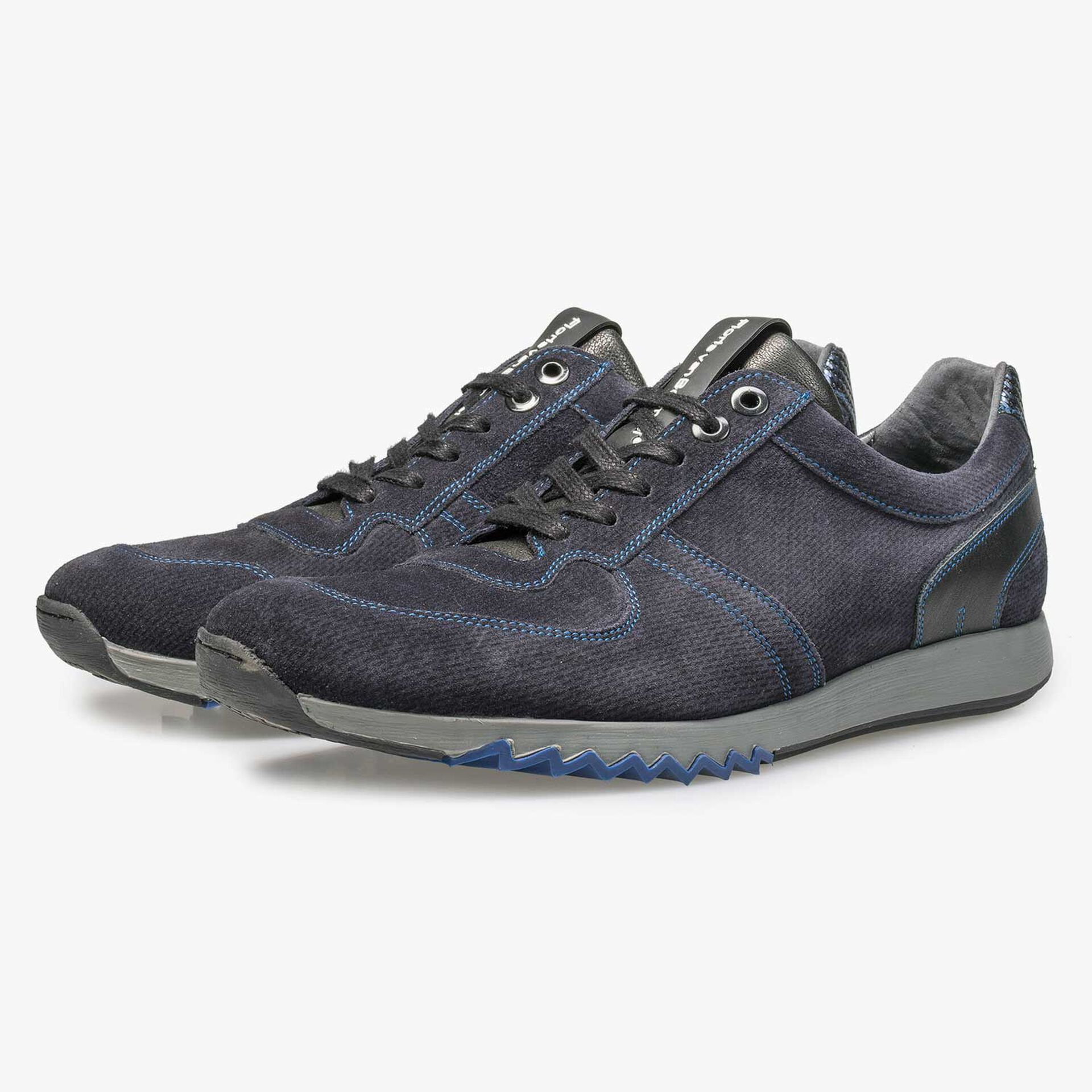 Blue calf's suede leather sneaker with pattern