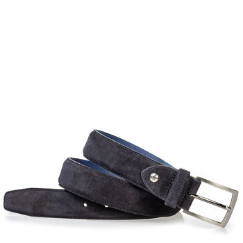 Suede leather belt with laser-cut print blue