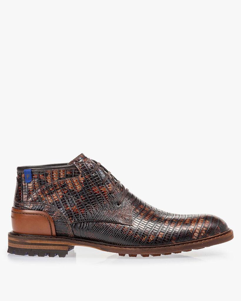Crepi boot lizard print cognac