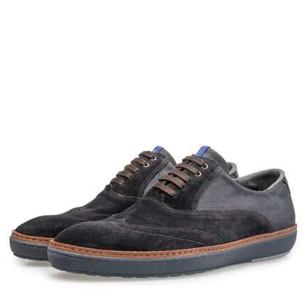 Patterned suede leather sneaker