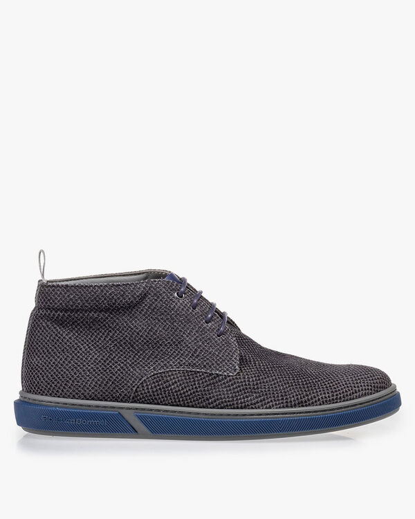 Lace boot grey with print