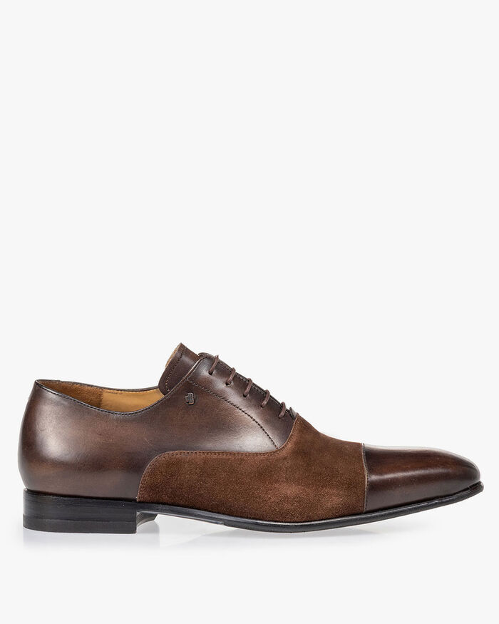 Lace shoe calf lather dark brown